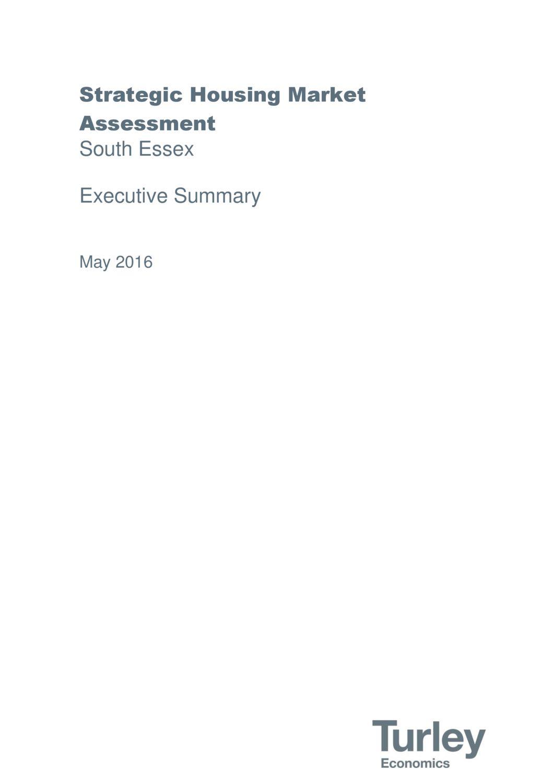 South Essex Strategic Housing Market Assessment Executive Summary