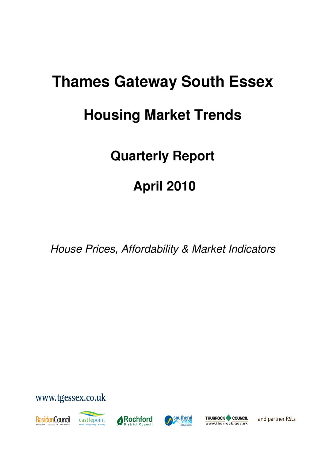 SE Housing Market Trends Quarterly Report April 2010