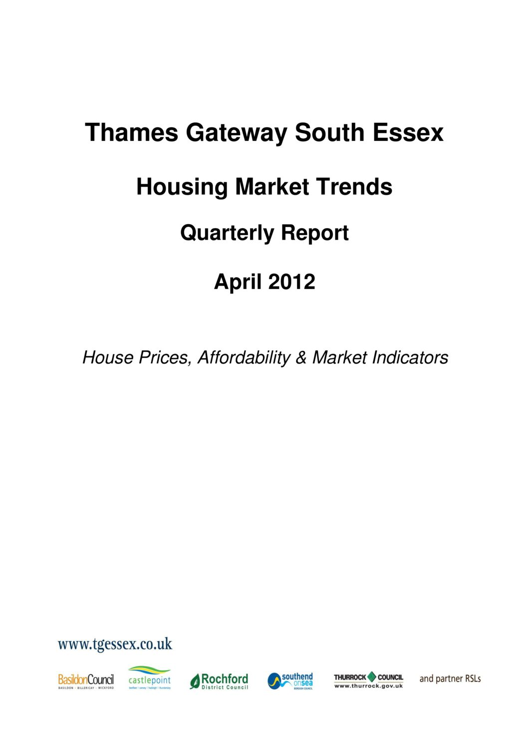 SE Housing Market Trends Quarterly Report April 2012