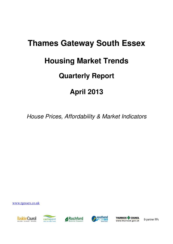 SE Housing Market Trends Quarterly Report April 2013