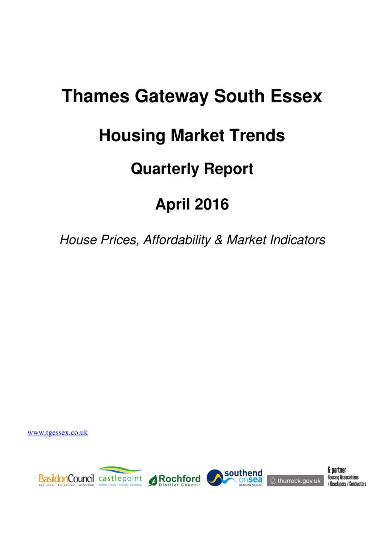 SE Housing Market Trends Quarterly Report April 2016